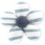 Mini flower hair slide striped blue gray glitter - PPMC