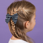 Bow tie hair slide striped silver dark blue