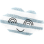 Cloud hair-clips striped blue gray glitter - PPMC