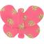 Barrette petit papillon feuillage or rose