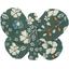 Barrette petit papillon fleuri kaki - PPMC