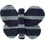 Barrette petit papillon rayé argent marine - PPMC