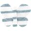 Barrette petit papillon rayé bleu blanc