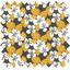 Coupon tissu 50 cm fleurs moutarde ex1055