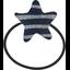 Elastique cheveux étoile rayé argent marine - PPMC