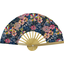 Hand-held fan pink blue dalhia - PPMC