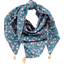 Foulard pompon fleuri nude ardoise - PPMC