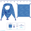 Foulard pompon rayé bleu blanc