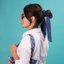 Long tail scrunchie blue english embroidery