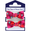 Small elastic bows pompons cerise - PPMC