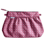 Pleated clutch bag grey pink petals - PPMC