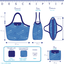 Grand sac cabas en tissu rayé bleu blanc