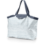 Tote bag with a zip striped blue gray glitter - PPMC