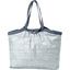 Bolso  cabas  mediano con cremallera brillo azul gris a rayas - PPMC