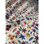 Cotton fabric terracotta and cream flowers
