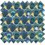 Cotton fabric geometrical flowers green  yellow ex1071 - PPMC