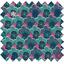 Cotton fabric fuchsia green geometrical flowers ex1072 - PPMC