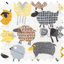 Cotton fabric yellow sheep - PPMC