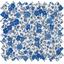 Tissu enduit  au mètre fleuri bleu crème ex1058 - PPMC