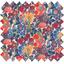 Tissu enduit  au mètre fleuri orange bleu blanc ex1064 - PPMC
