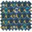 Tissu enduit  au mètre fleurs géo vert jaune ex1071 - PPMC