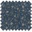 Tissu enduit  au mètre petites fleurs blanc marine ex1112 - PPMC