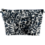 Cosmetic bag with flap black linen foliage  - PPMC