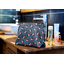 Cosmetic bag with flap flowered night