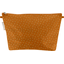 Cosmetic bag with flap caramel golden straw - PPMC