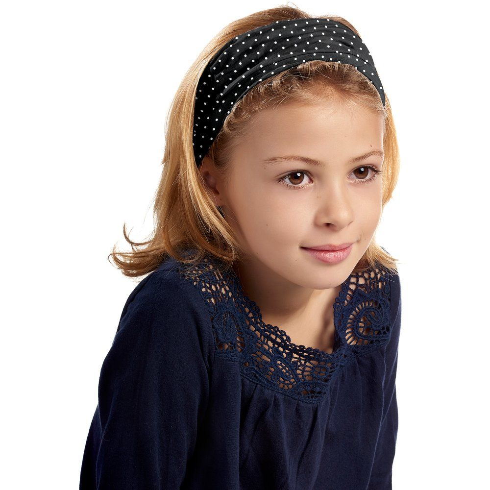 Headscarf headband- child size black spots