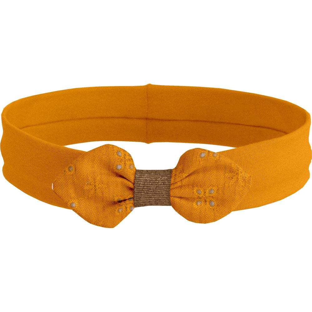 Jersey knit baby headband gaze dentelle ocre
