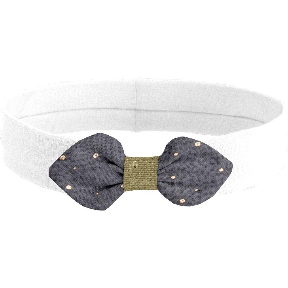 Jersey knit baby headband gauze gray gold