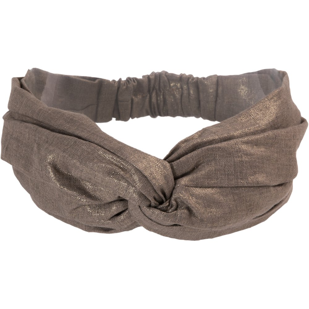 crossed headband copper linen