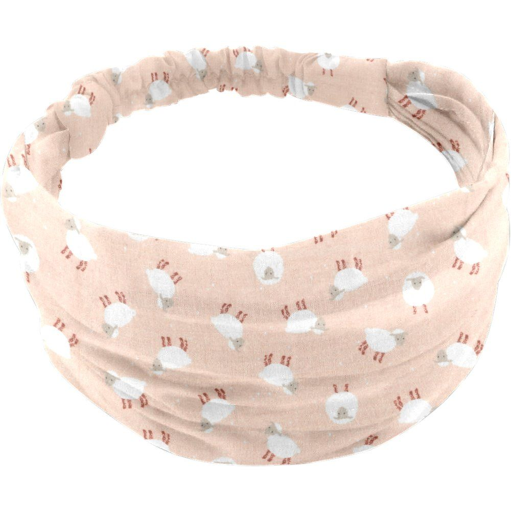 Headscarf headband- Baby size pink sheep
