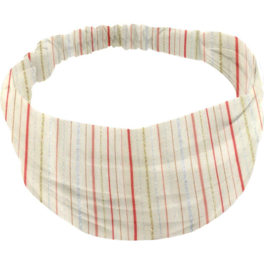 Headscarf headband- Baby size silver pink striped
