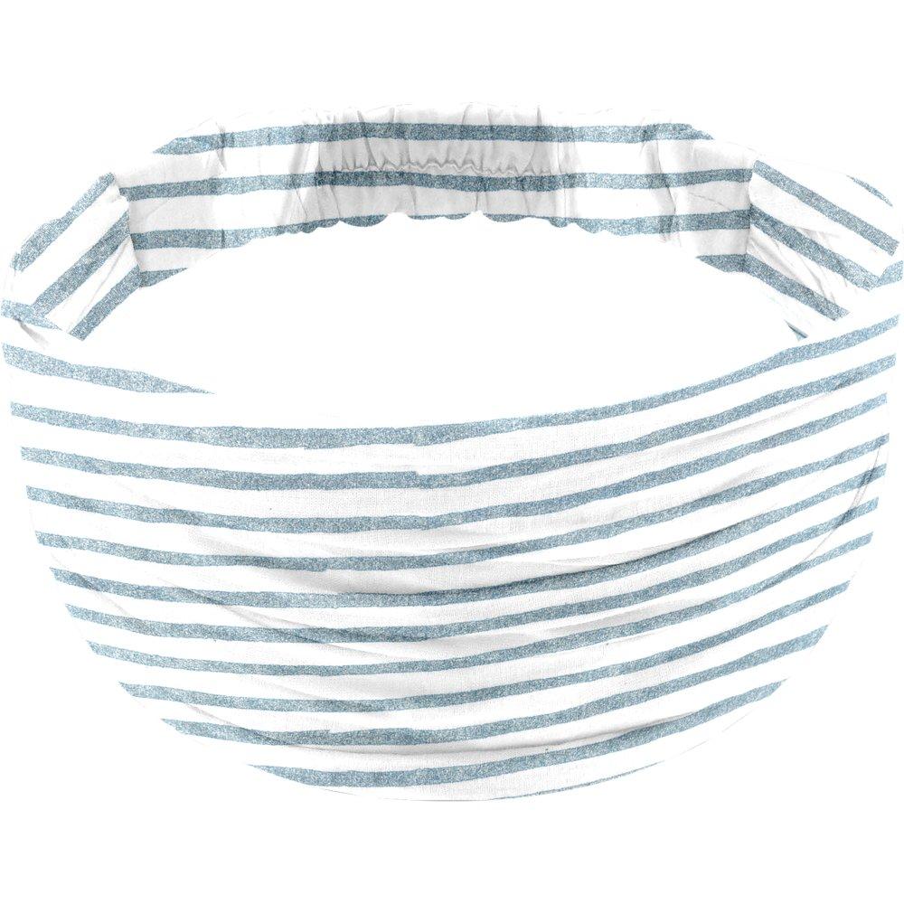Headscarf headband- child size striped blue gray glitter