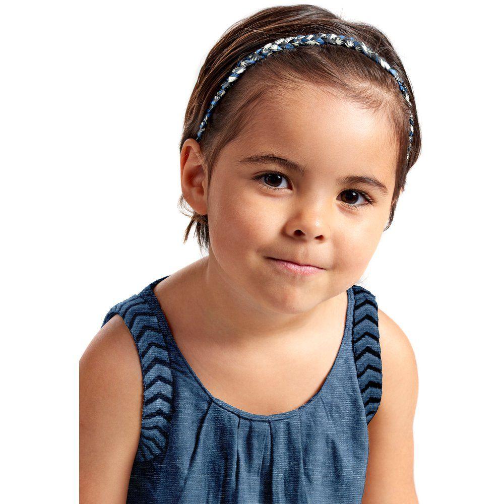 Bandeau tressé enfant  eclats bleu nuit