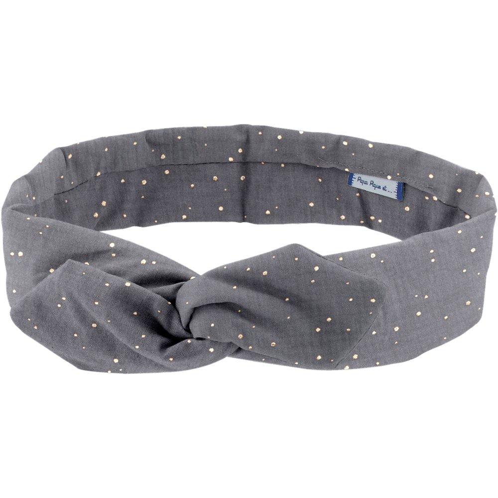 Wire headband retro gauze gray gold