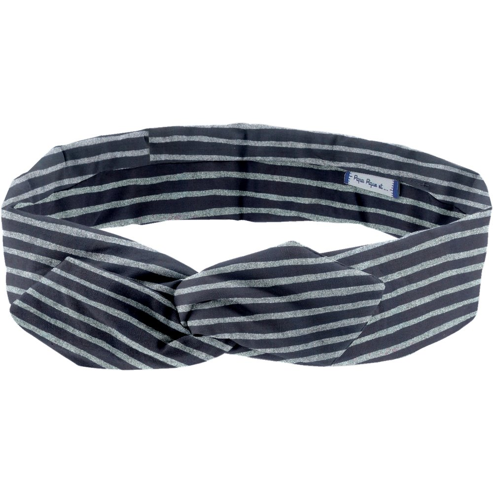 Wire headband retro striped silver dark blue