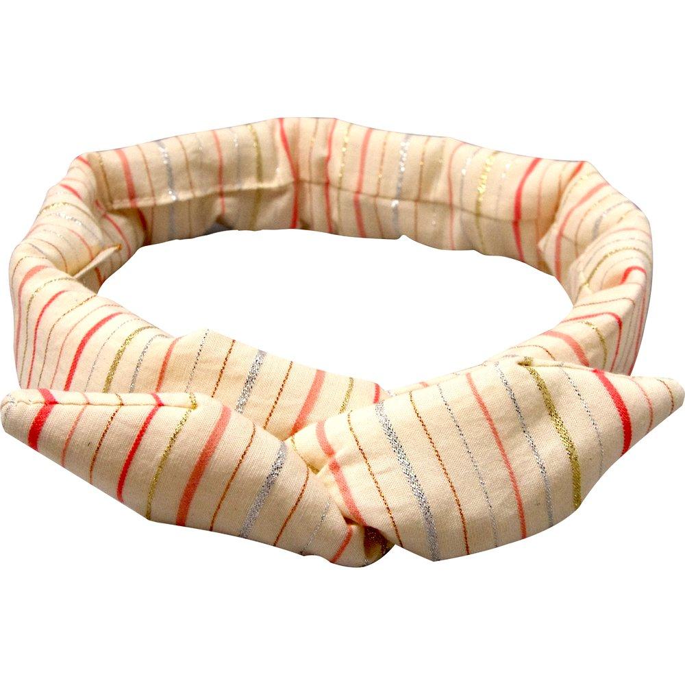 Wire headband retro silver pink striped