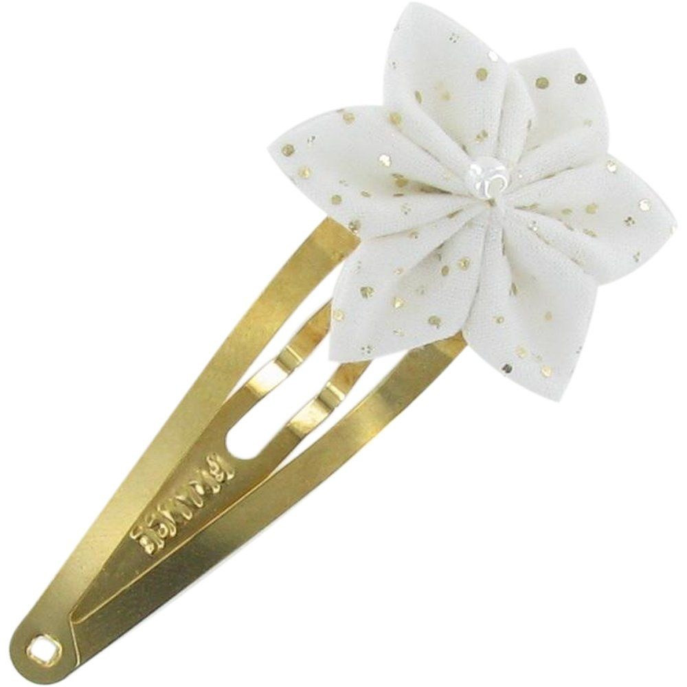 Barrette clic-clac fleur étoile  blanc pailleté
