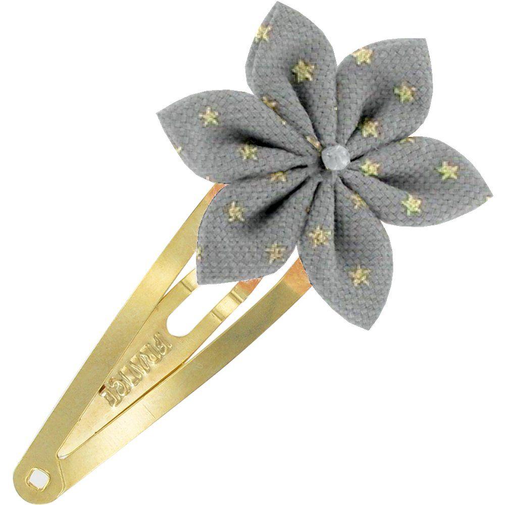 Barrette clic-clac fleur étoile etoile or gris