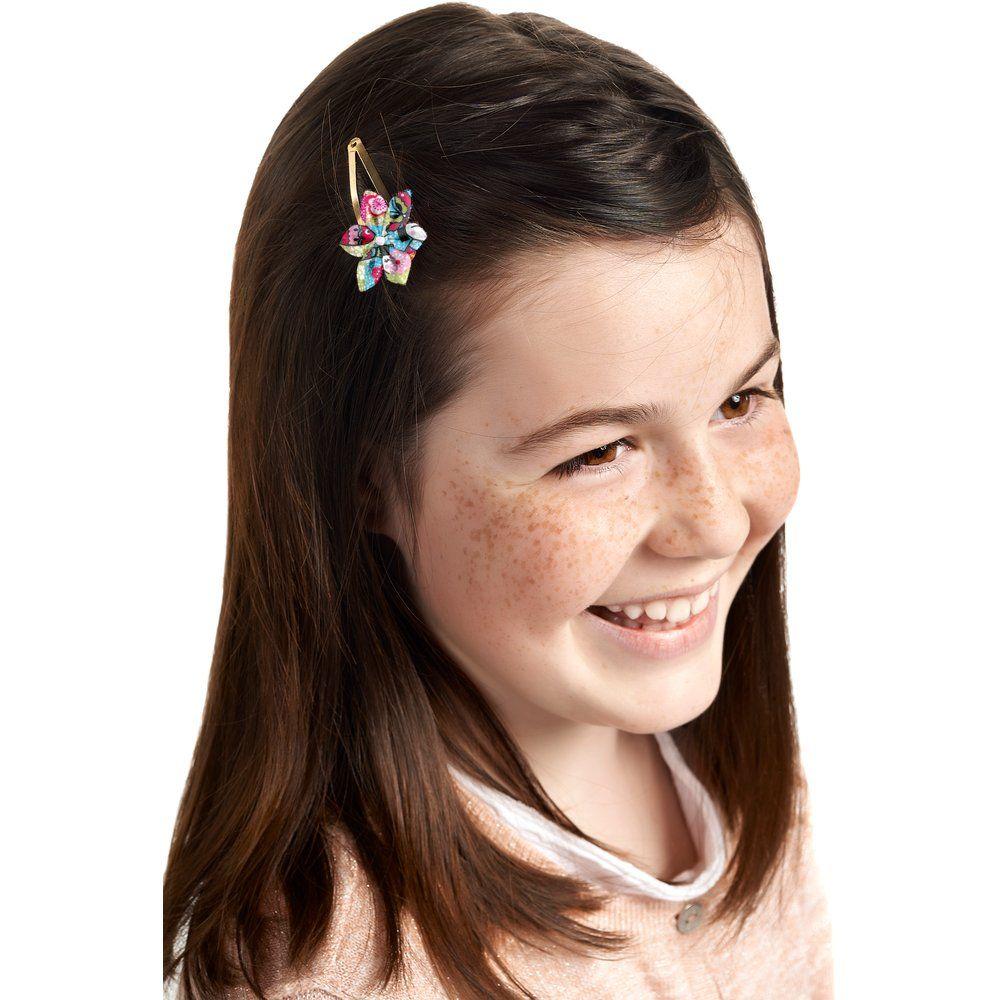 Barrette clic-clac fleur étoile kokeshis