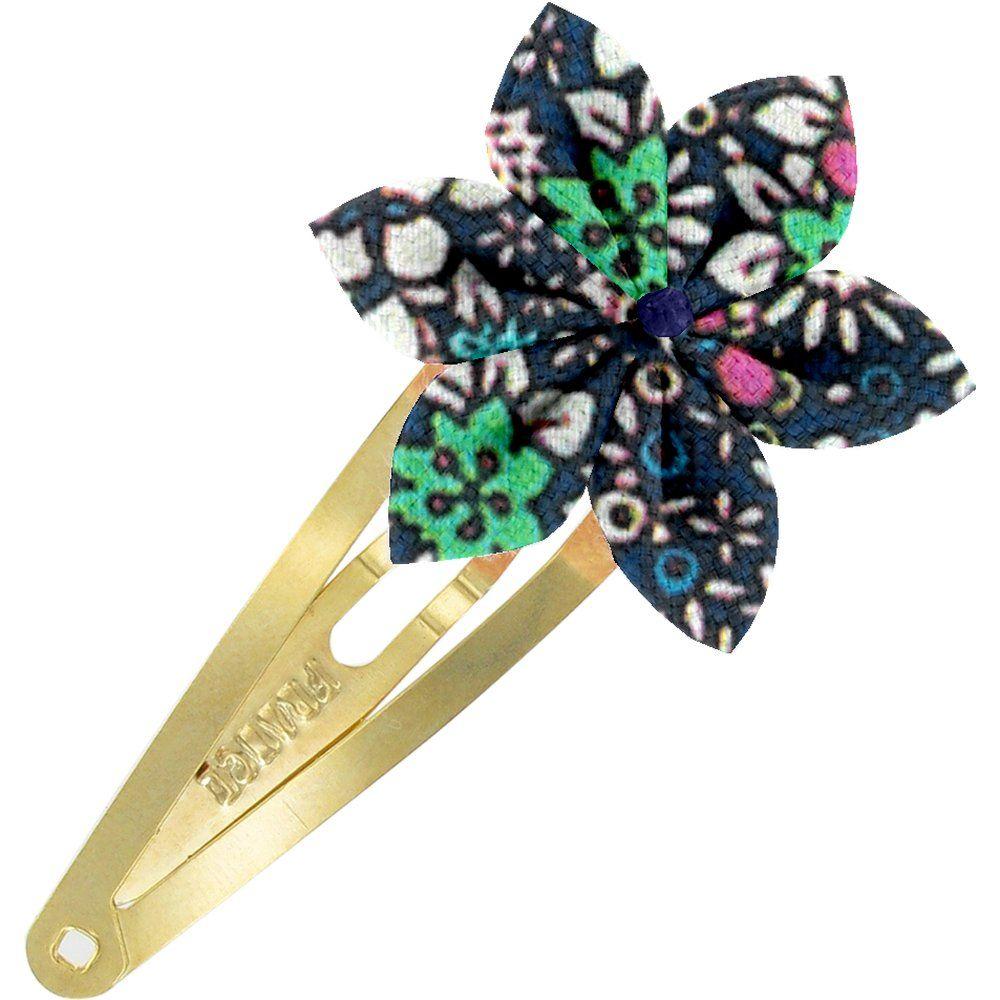 Barrette clic-clac fleur étoile milli fleurs vert azur