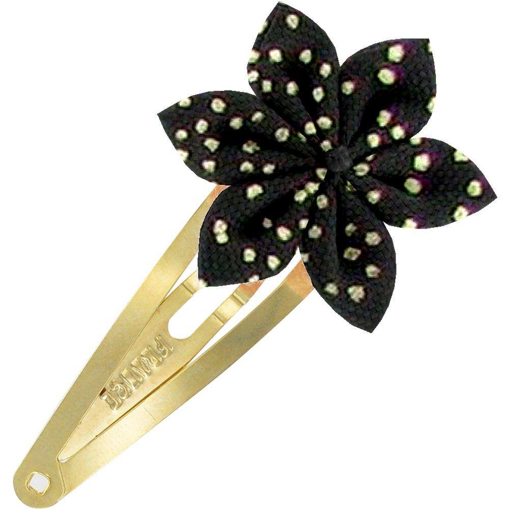Barrette clic-clac fleur étoile noir pailleté
