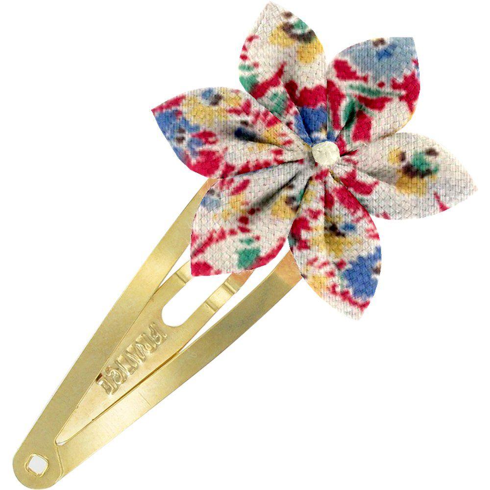 Barrette clic-clac fleur étoile oeillets jean