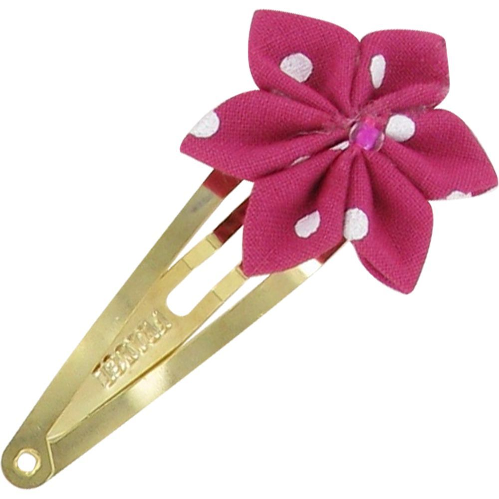 Star flower hairclip fuschia spots