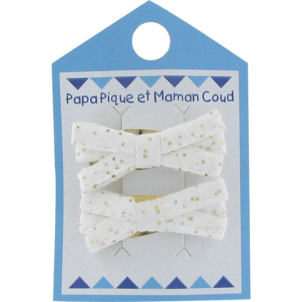 Barrette clic-clac mini ruban  blanc pailleté