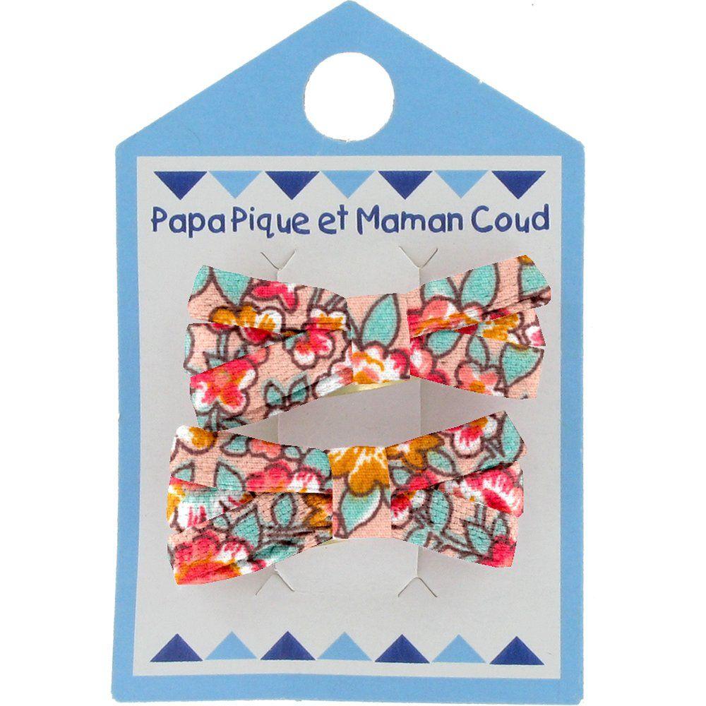 Barrette clic-clac mini ruban floral pêche