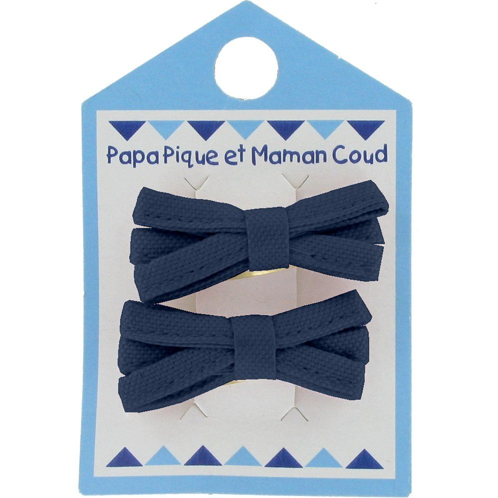 Small ribbons hair clips navy blue